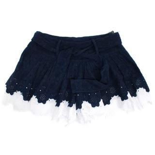 Manoush Daisy Cotton Navy And White Shorts
