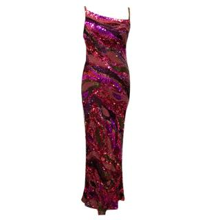 Jenny Packham Red & Purple Long Sequin dress