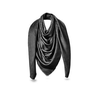 Louis Vuitton Black Silk Shawl Scarf