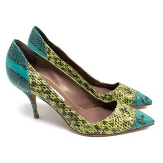 Tabitha Simmons Green Python Heels