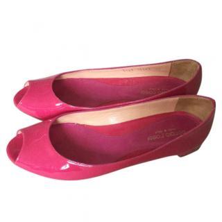 Sergio Rossi Peep Toe Pink Flats
