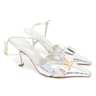 Louis Vuitton Silver Python Heels