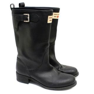 Dsquared2 Black Leather Rain Boots