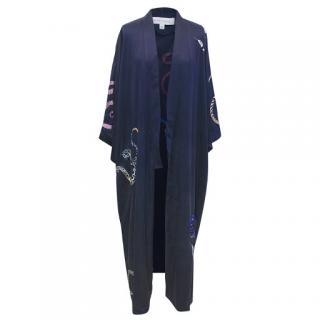 Olivia Von Halle Navy Silk Snake Embroidered Kimono Robe