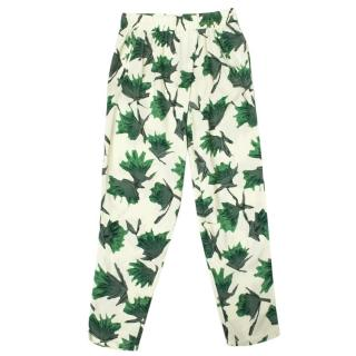 Ganni San Pedro Green and White Patterned Trousers