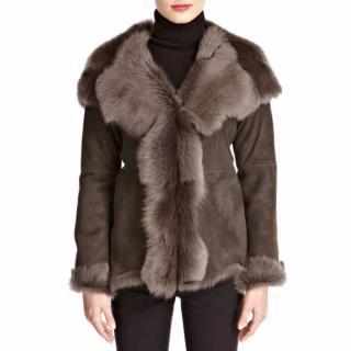 Shearling Boutique Grey Waterfall Hooded Shearling Jacket