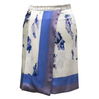 Micheal Van Der Ham Printed Silk Blend Wrap Skirt