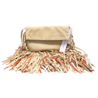 Barbara Bonner Beige Suede Tassel Cross Body Bag