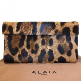 Alaia Leopard Calf-Hair Clutch