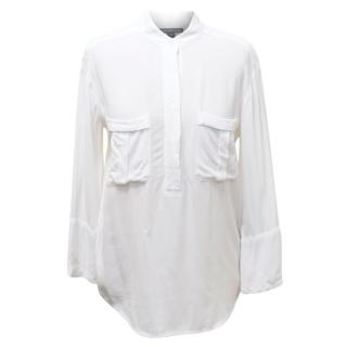 James Perse White Collarless Blouse