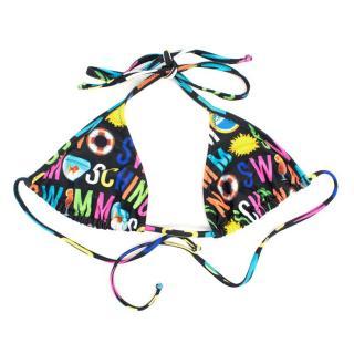 Moschino Black Printed Bikini Top