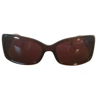 Givenchy Brown Rectangle Shaped SGV 662 9HG Sunglasses