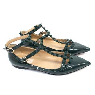 Valentino Rockstud Green Patent Leather Flats