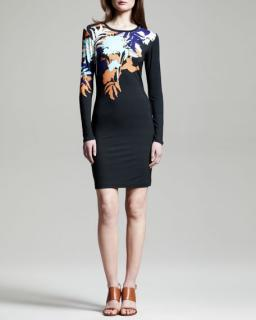 Jonathan Saunders Black Printed Stretchjersey Mini Dress