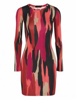 Jonathan Saunders Pink Printed Stretch-Crepe Mini Dress