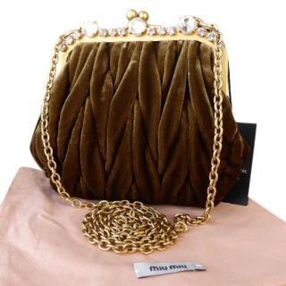 Limited Edition Miu Miu Mini Frame Bag - Olive Velvet Matelasse