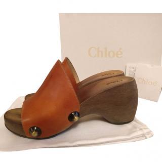 Chloe Izzy leather platform clogs