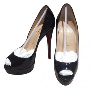 Christian Louboutin Black Lady Peep Patent Calf 150mm