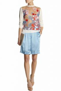 Jonathan Saunders White Trista Panelled Silk And Mesh Jumper