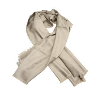 Louis Vuitton Beige Silk Shawl Scarf