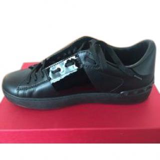 Valentino Black Rockstud Open Sneakers