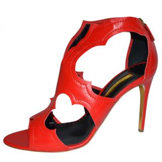 Rupert Sanderson Red Leather Caged Sandals