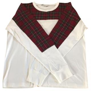 Stella McCartney Mens White and Checkered Jumper