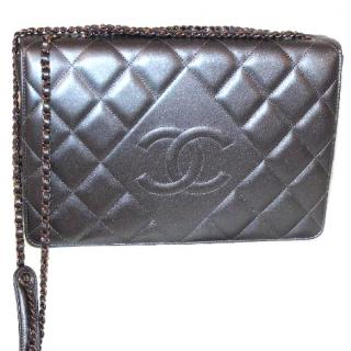 Chanel Diamond CC Metallic Grey Flap Bag