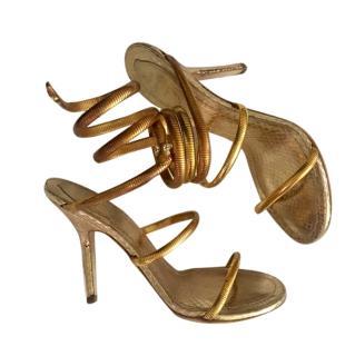Rene Caovilla Strappy Gold Shoes