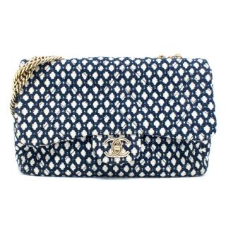 Chanel Navy Blue And White Quilted Bag