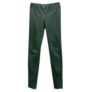 Snow from St Barth Green Leather Leggings