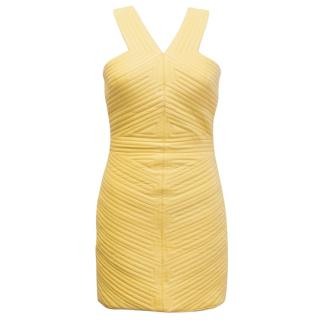 Balmain Yellow Quilted Leather Dress