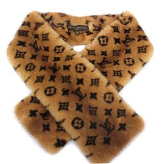 Louis Vuitton LV Monogram Mink Fur Scarf