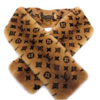 Louis Vuitton LV Monogram Mink Fur Scarf