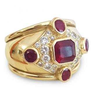 Etruscan Ruby & Diamond 18ct Gold Ring