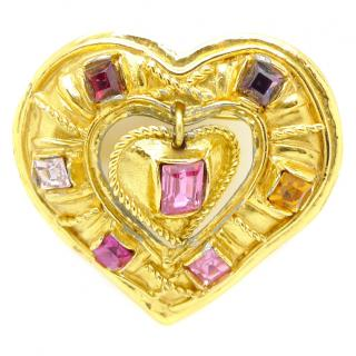Christian Lacroix French Vintage Gold Heart Pendant or  Brooch