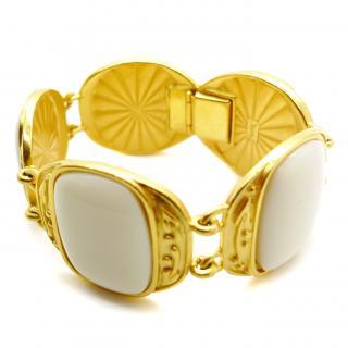 YSL Vintage Link Gold Cream Bracelet