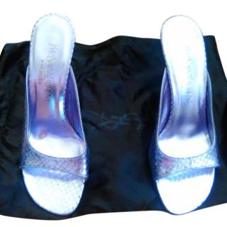 Yves Saint Laurent Leather Snake Print Sandals