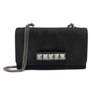 Valentino Black Denim Va Va Voom Shoulder Bag