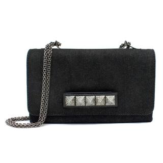 Valentino Black Denim Va Va Voom Shoulder Bag
