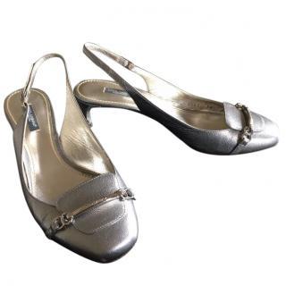 Dolce & Gabbana Silver Leather Slingback Pumps