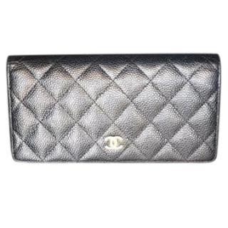 Chanel Black Lambskin Quilted Wallet