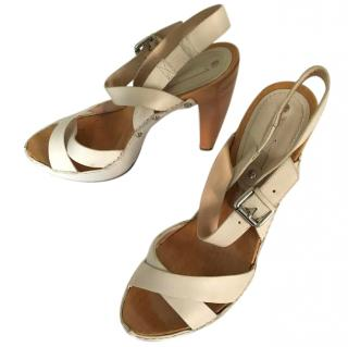 Celine Wooden and Leather Sandals
