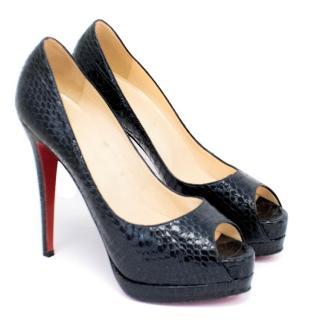 Christian Louboutin Black Lady Peep Python Heels