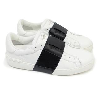 Valentino Garavani Open White and Black Stud Trainers