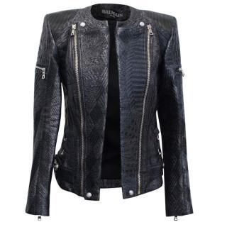 Balmain Black Silk Blend Patterned Biker Jacket