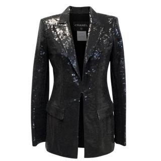 Chanel Black Sequin Blazer