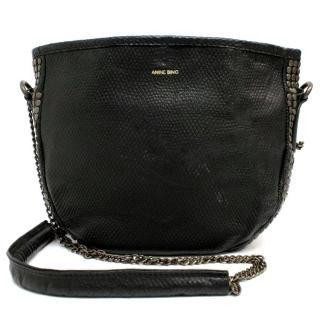Anine Bing Black Leather Studded Crossbody Bag