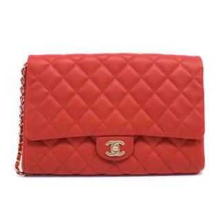 Chanel Red Quilted Leather Flap Shoulder Bag