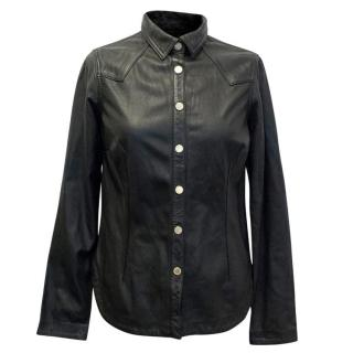 Erin Wasson Meets Zadig & Voltaire Black Leather Shirt